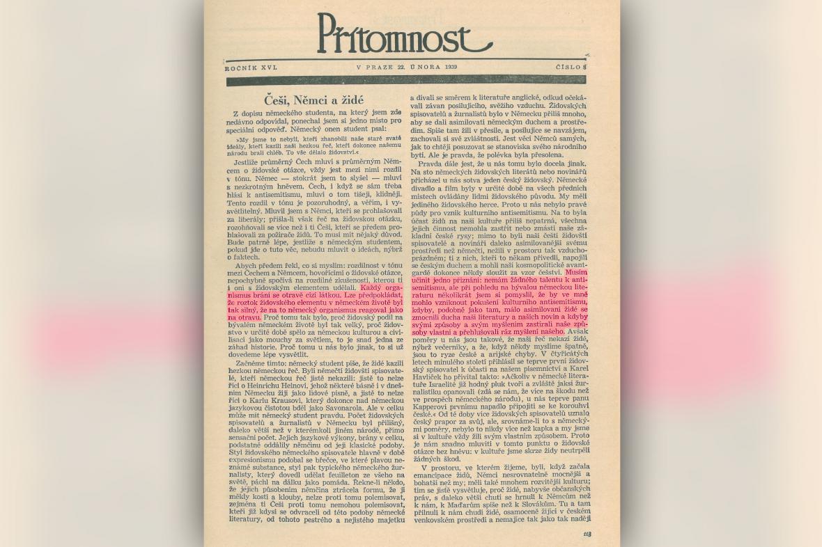 Článek Ferdinanda Peroutky v týdeníku Přítomnost Češi, Němci a židé