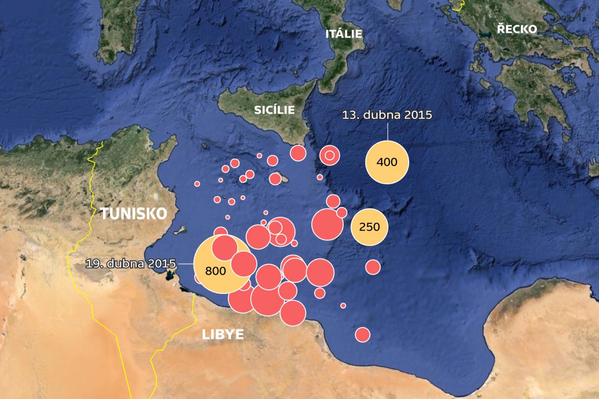 Místa ztroskotání uprchlíků ve Středozemním moři