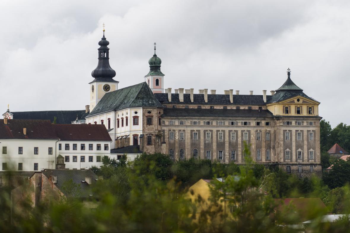 Broumovský klášter při rekonstrukci - snímek z 11. 8. 2014