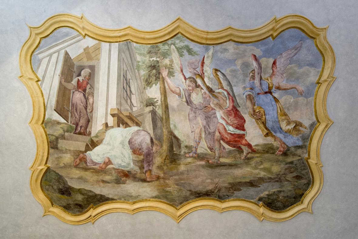Freska v Broumovském klášteře - snímek z 11. 8. 2014