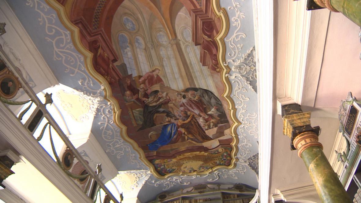 Freska v knihovně kláštera