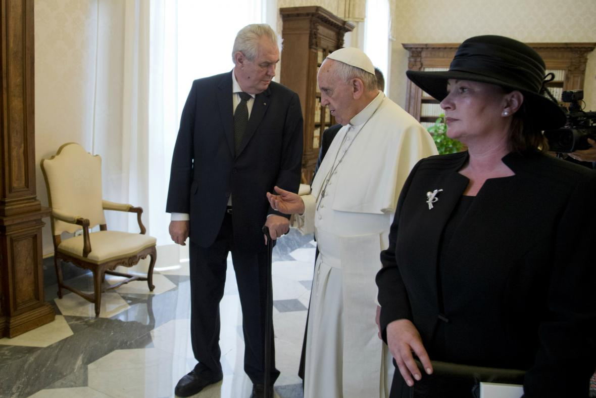 Miloš Zeman během audience u papeže Františka