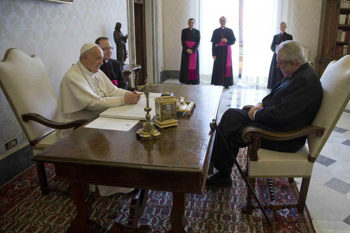 Audience Miloše Zemana u papeže Františka