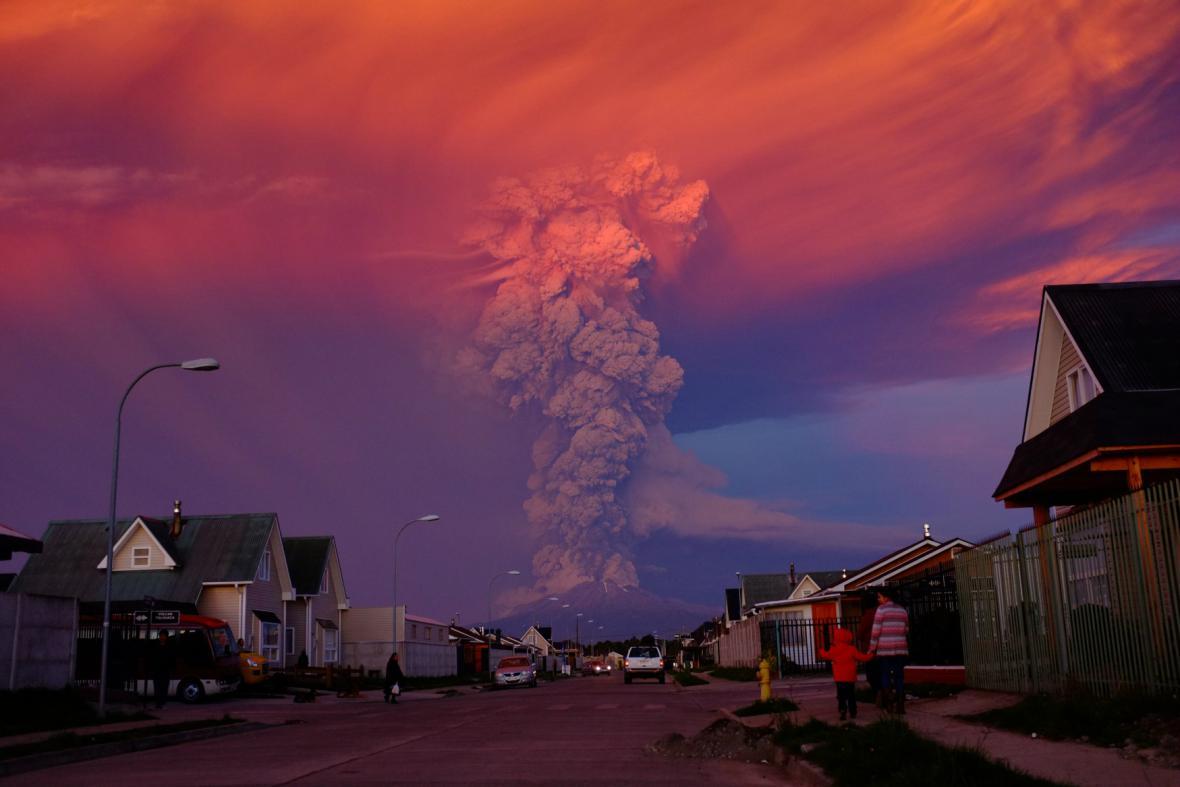 Erupce chilské sopky Calbuco