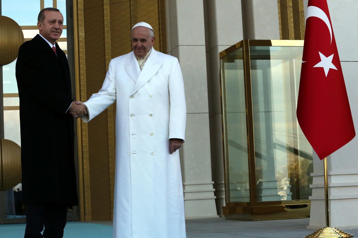 Papež František a turecký prezident Recep Tayyip Erdogan