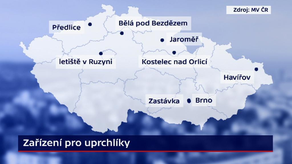 Města, v nichž se nachází zařízení pro uprchlíky