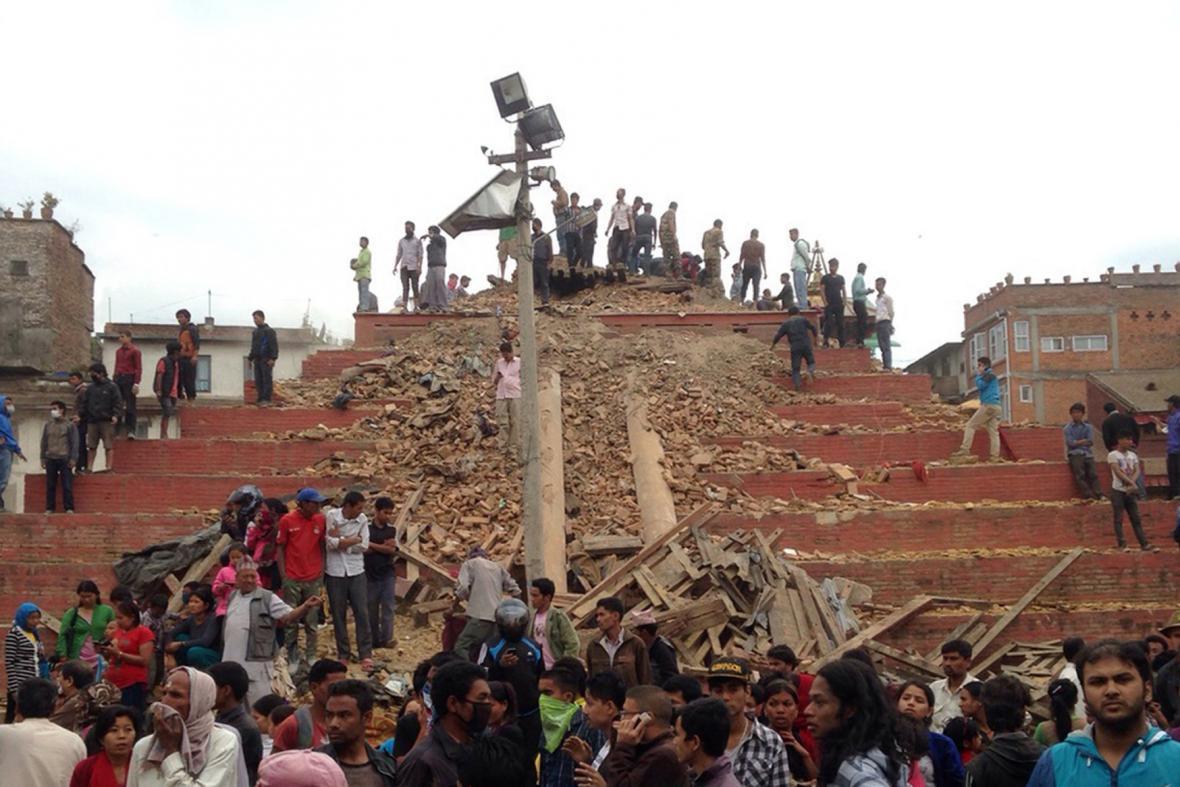 Náměstí Durbar po zemětřesení