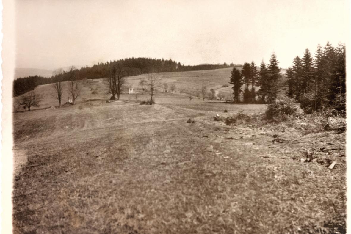 Pohled na vypálené Vařákovy paseky v roce 1945