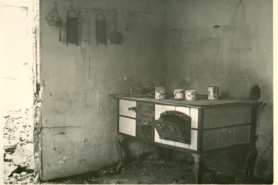 Vypálené Leskovice - bývalá kuchyně u Vaverků