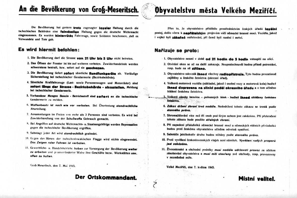Stanné právo vyhlášené nacisty v květnu 1945 ve Velkém Meziříčí