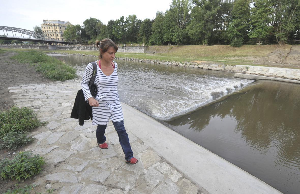 Ostravice u Sýkorova mostu v Ostravě