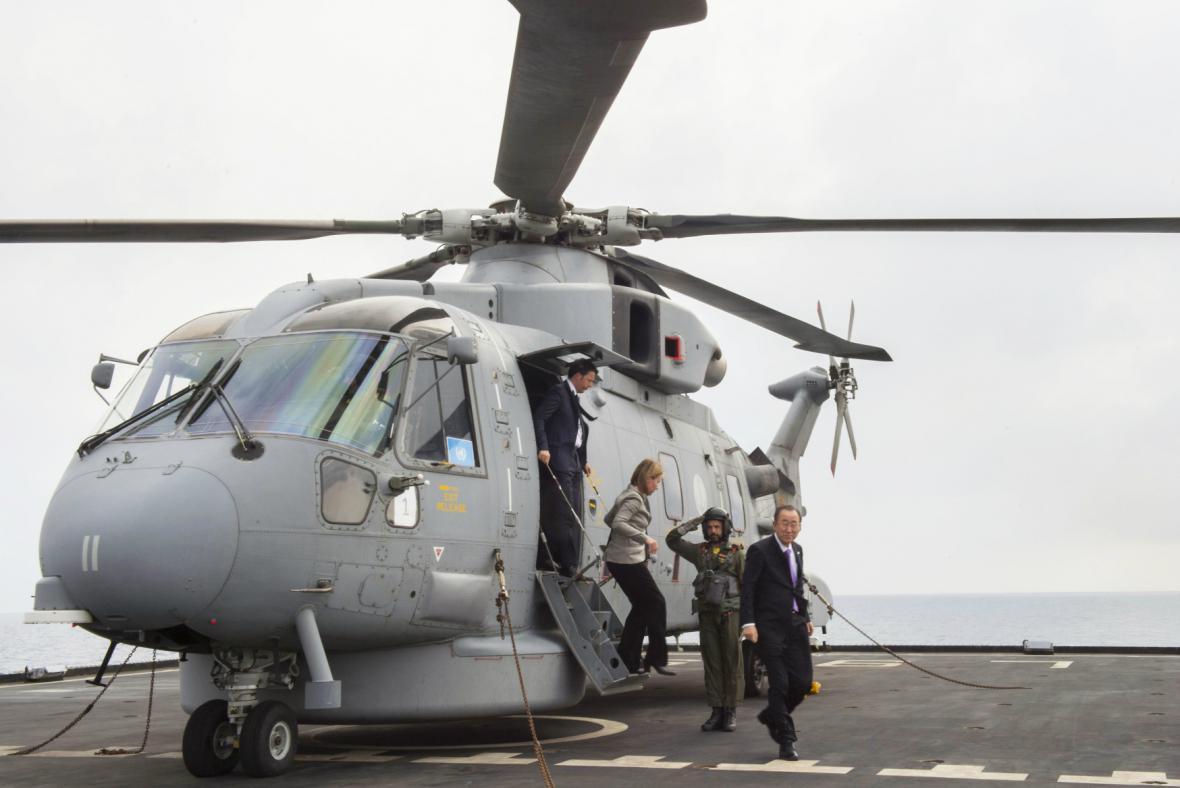 Pan Ki-mun, Renzi a Mogheriniová na lodi San Giusto