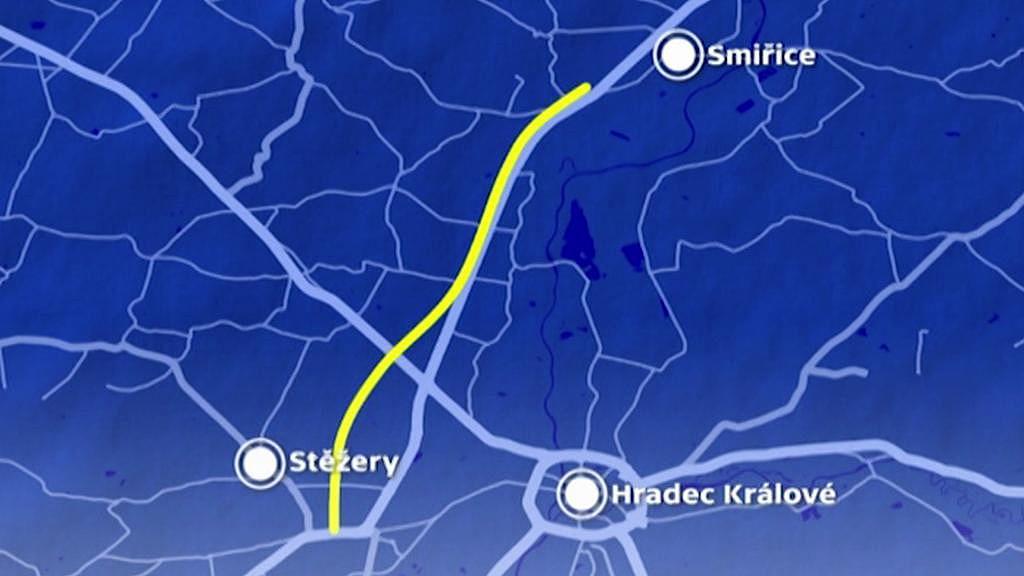 Trasa pokračování dálnice D11 ve směru na Jaroměř