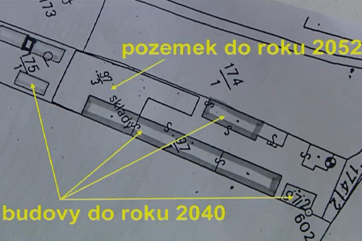 Plán pronajatých budov a pozemků