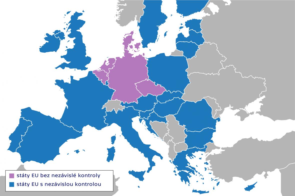 Státy EU bez nezávislé kontroly hospodaření politických stran