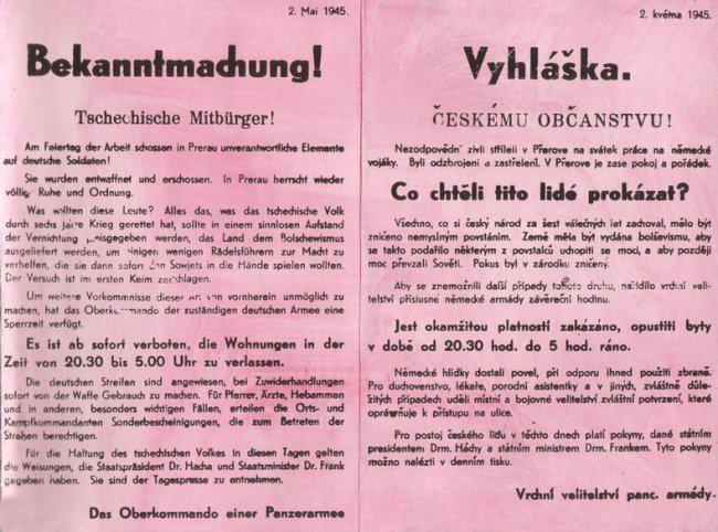 Německá vyhláška o potlačení povstání v Přerově
