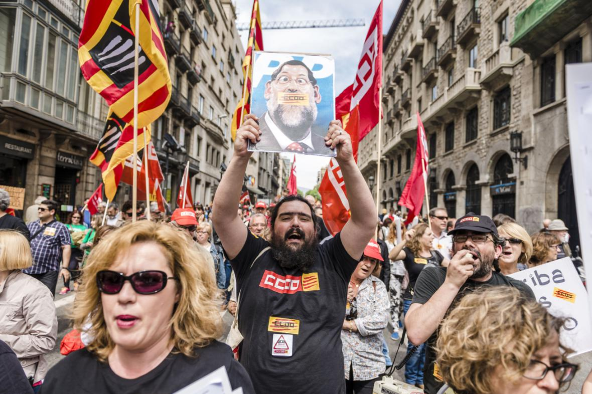 Prvomájová demonstrace v Barceloně