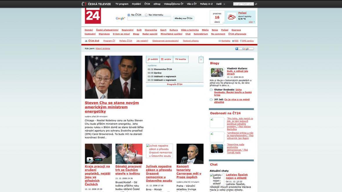 A takhle vypadal web v roce 2008
