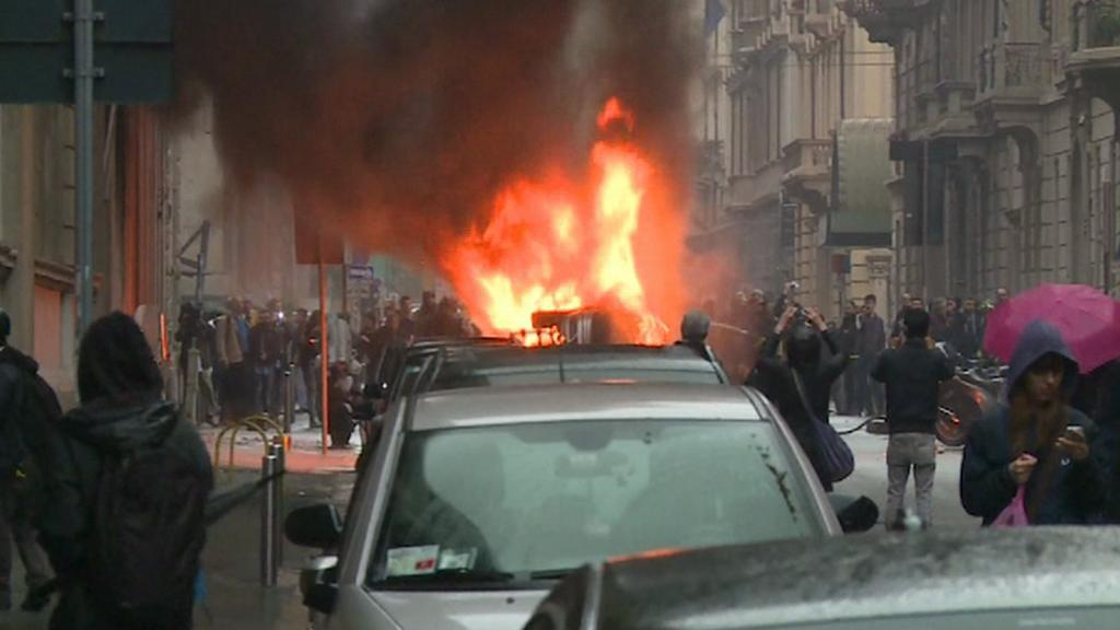 Páteční milánské protesty proti Expu se zvrhly v násilnosti
