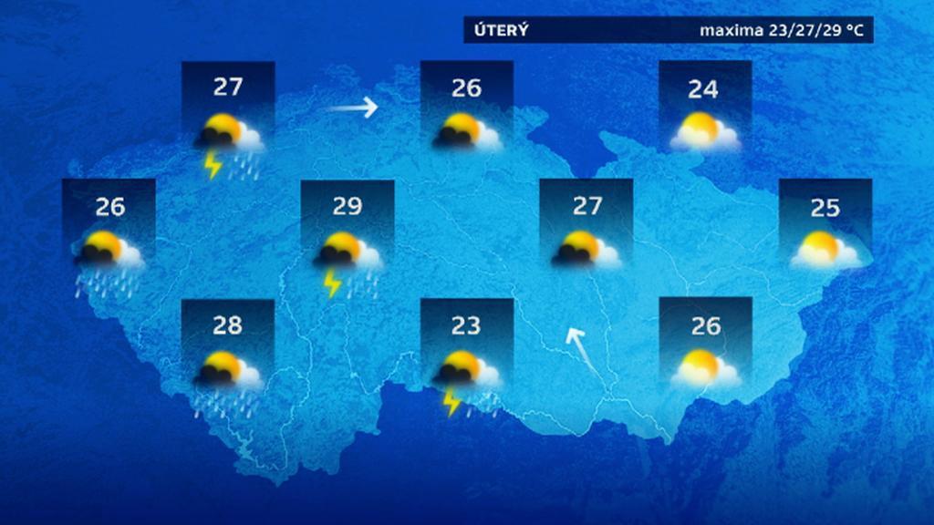 Předpověď počasí na úterý 5. 5.