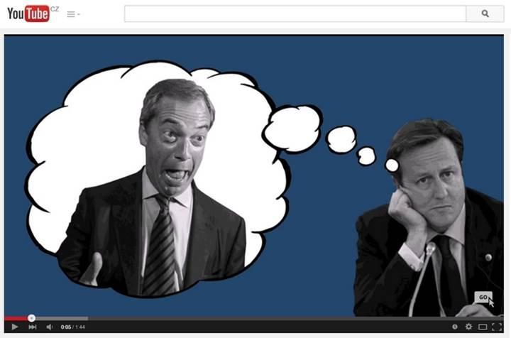 Lídr UKIP Nigel Farage a David Cameron (konzervativci)