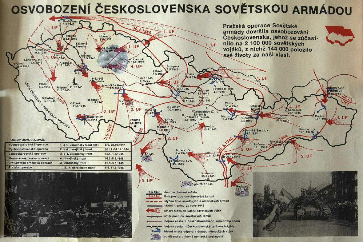 Dobová mapa osvobození Československa v roce 1944 a 1945