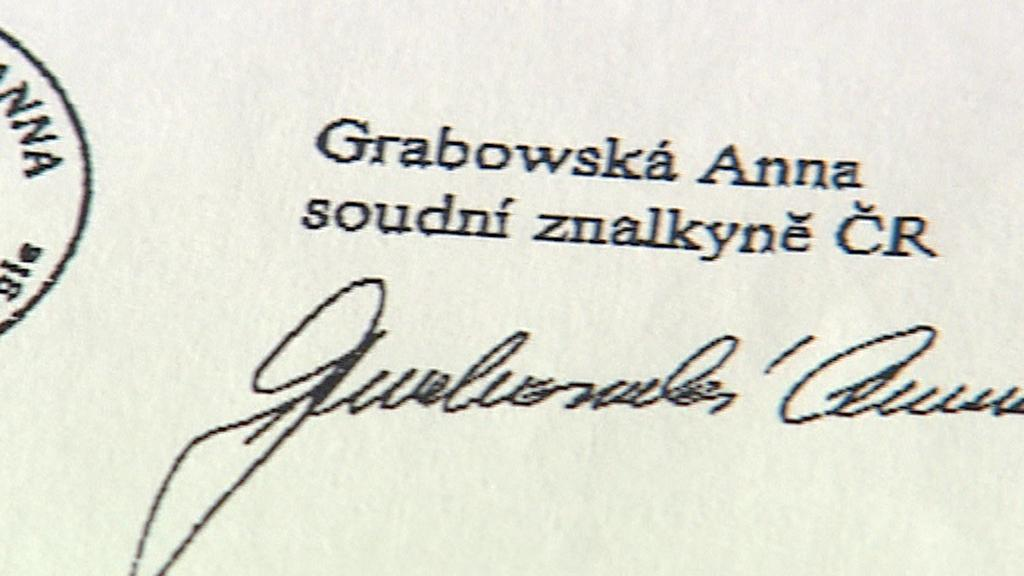 Anna Grabowská je pouze grafoložka, ne písmoznalkyně