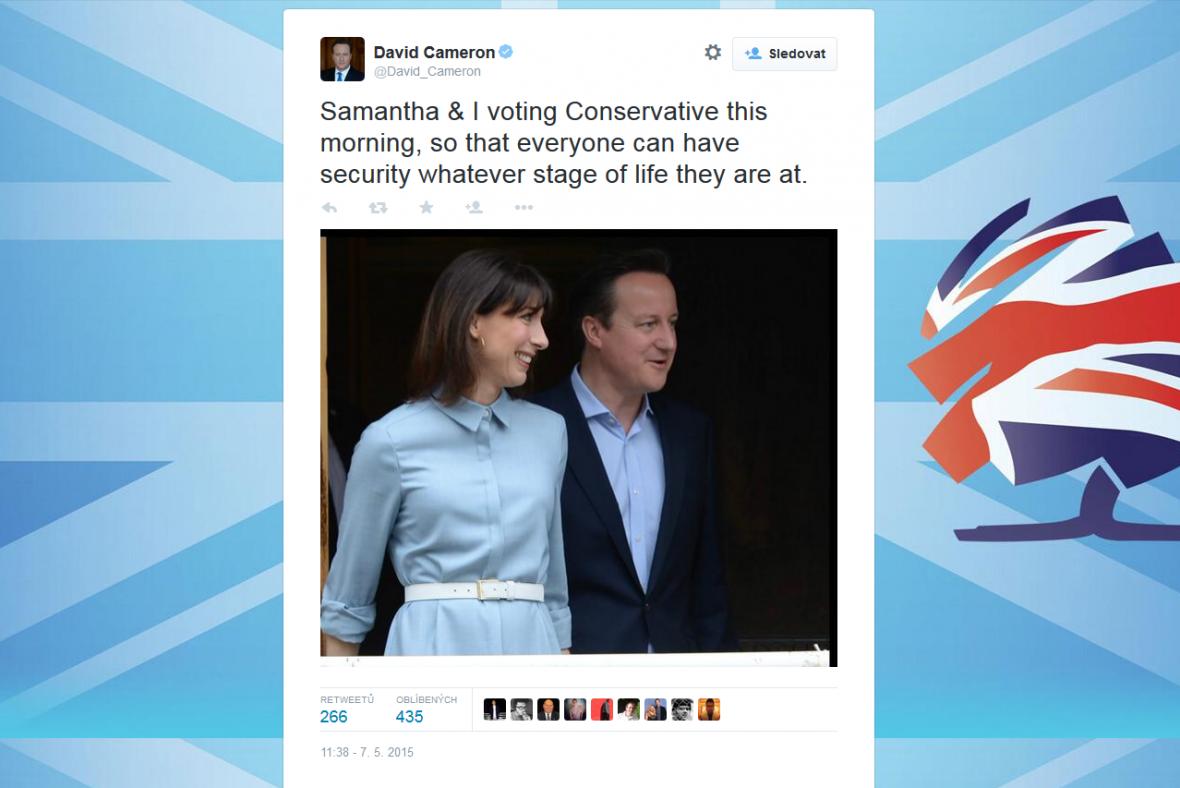 K volbám se dostavil i britský premiér David Cameron