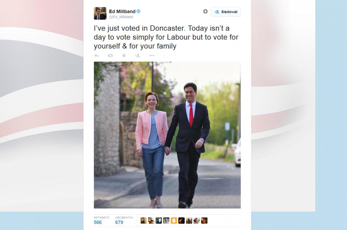 Lídr labouristů Ed Miliband již odvolil