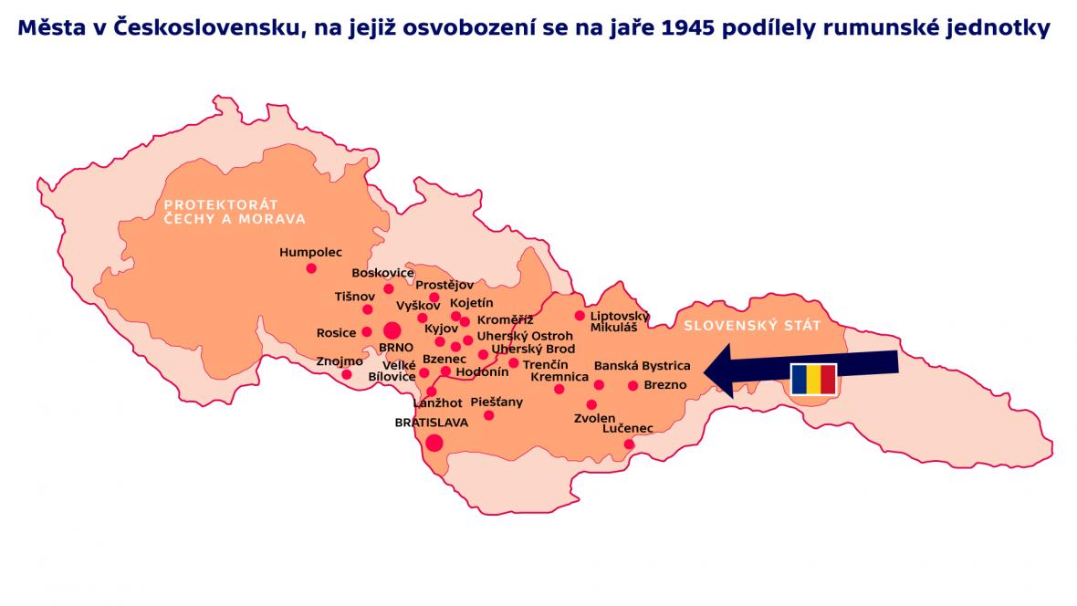 Města v Československu, na jejichž osvobození se na jaře 1945 podílely rumunské jednotky