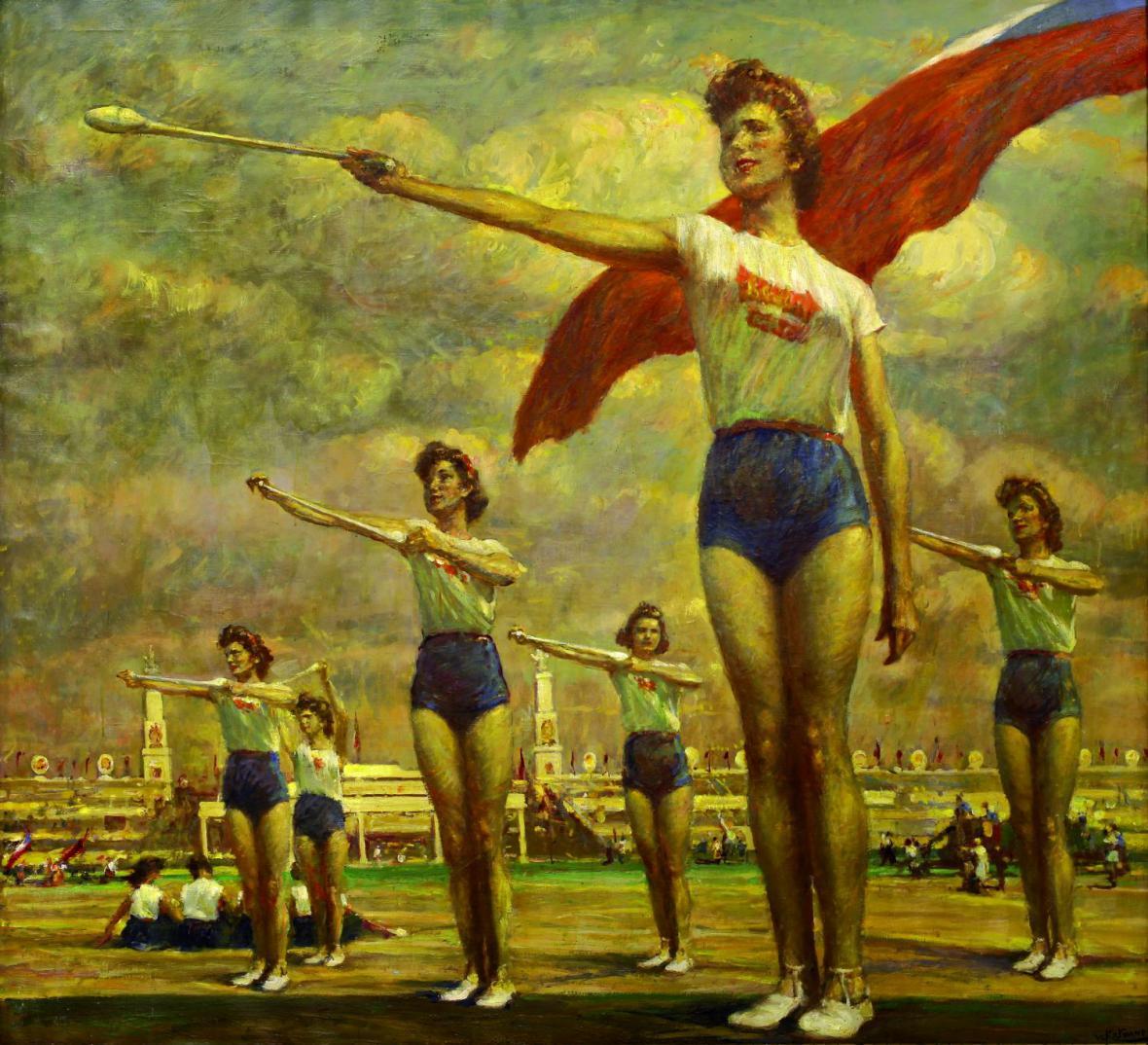 Vlastimil Košvanec / Cvičící ženy s kužely (1955)