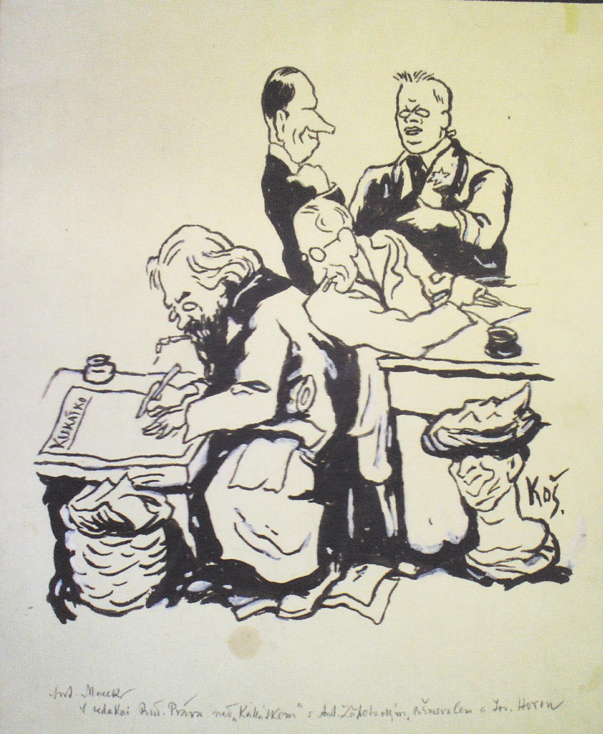 Vlastimil Košvanec / karikatura (1921)