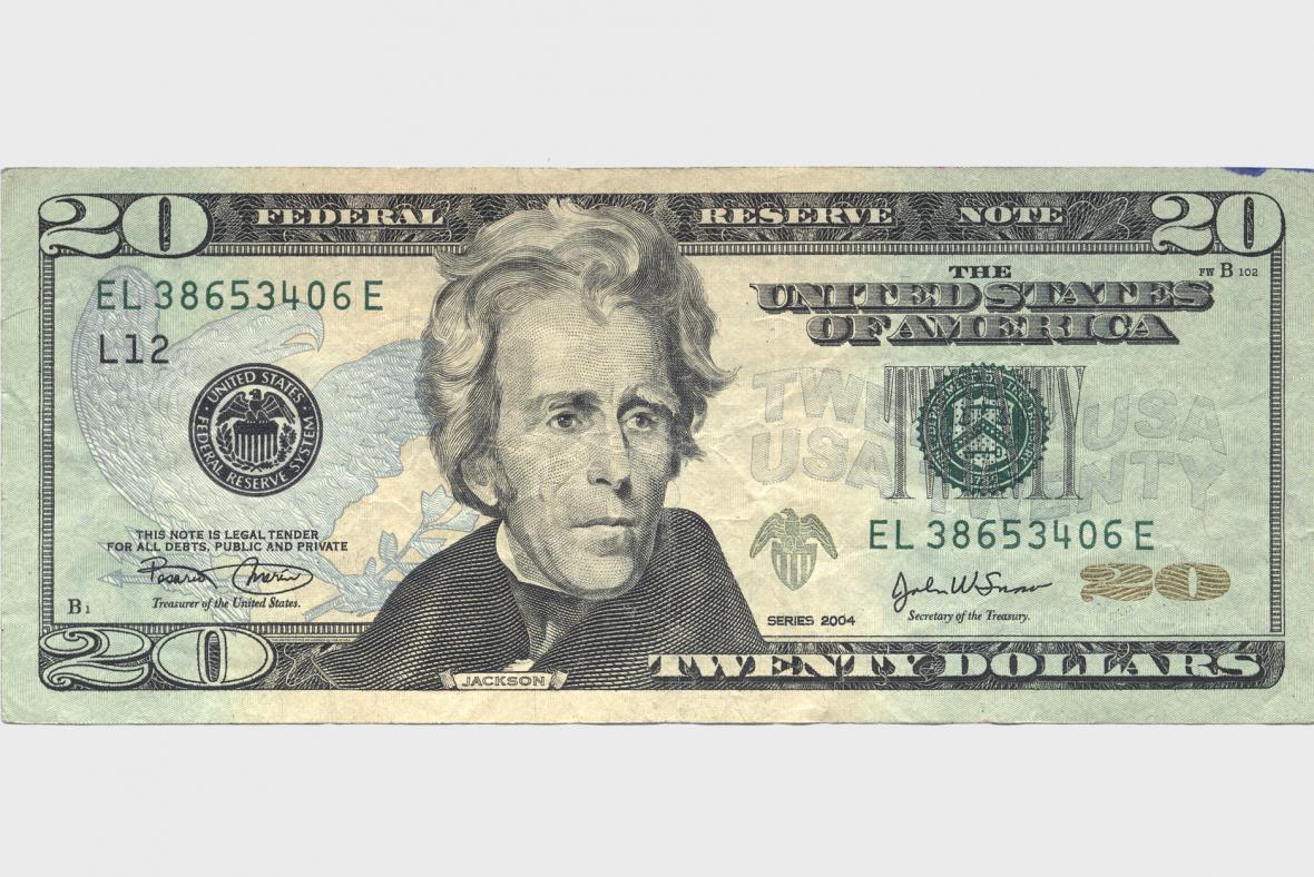 Dvacetidolarová bankovka s Andrewem Jacksonem