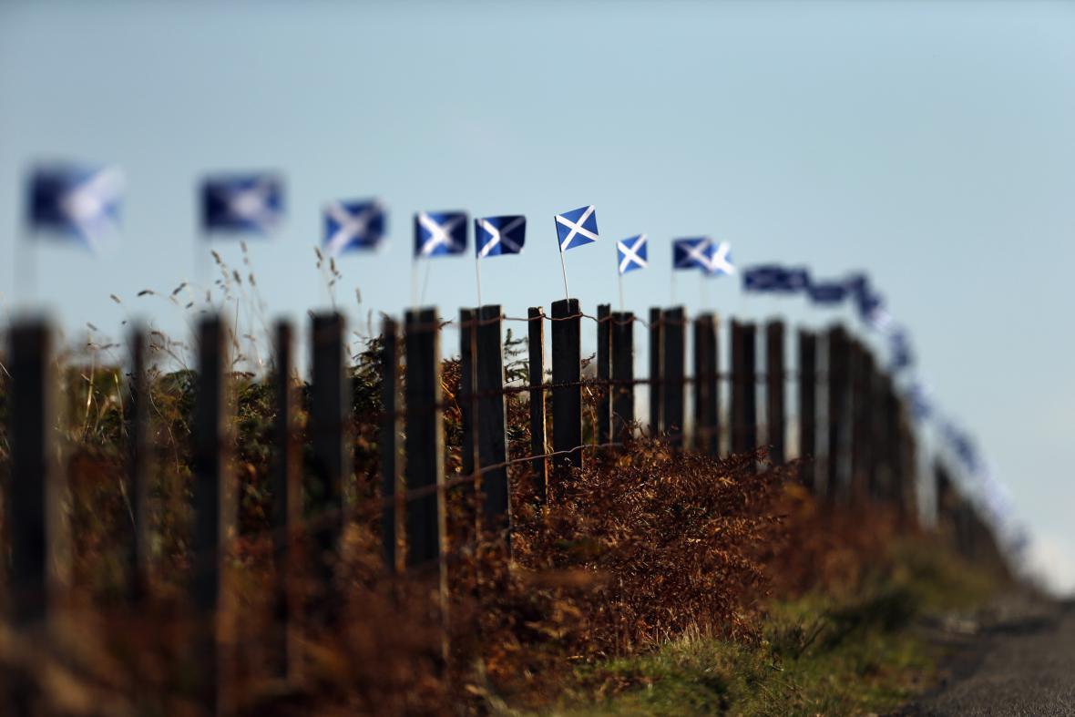 Skotské vlaječky lemují plot před referendem o nezávislosti