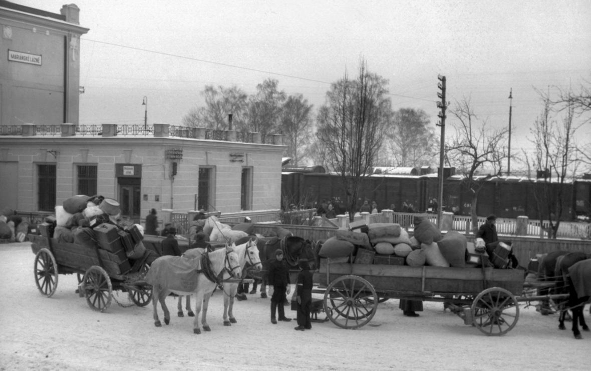 Odjezd německých vysídlenců z Mariánských Lázních v lednu 1946