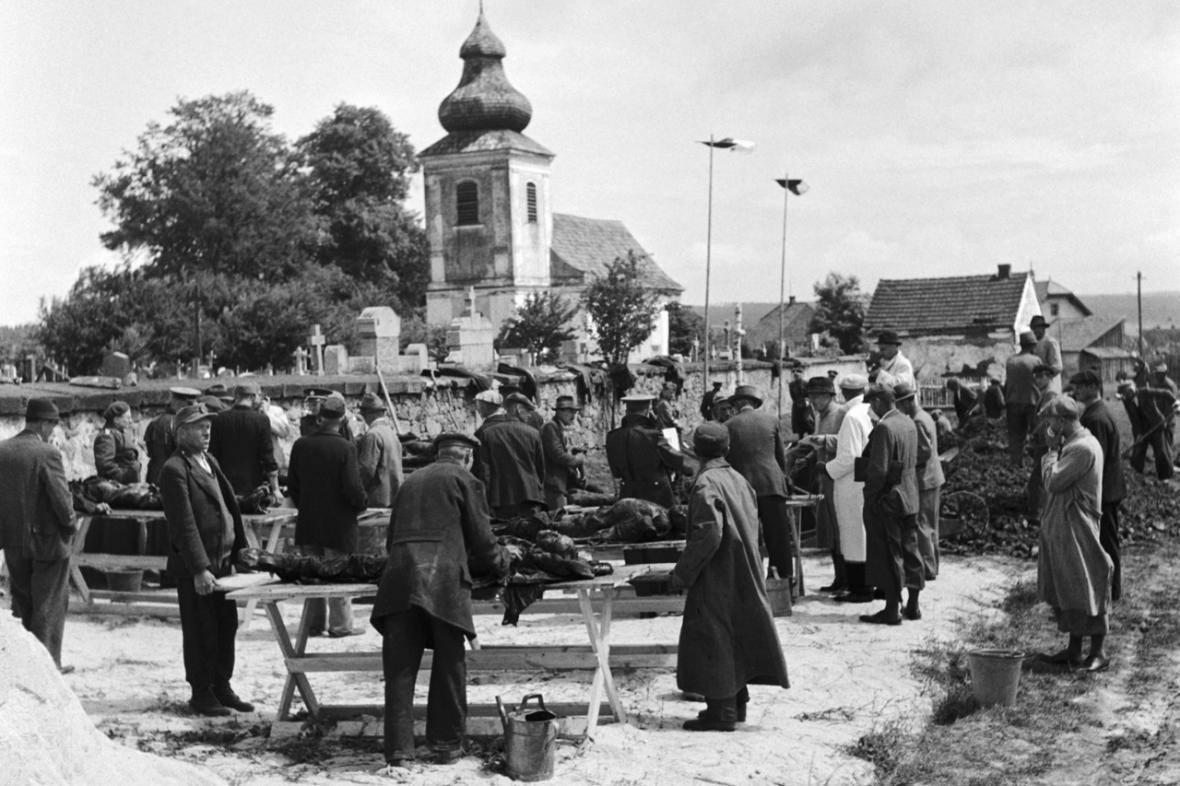 Odsun Němců - odkrývání hromadného hrobu