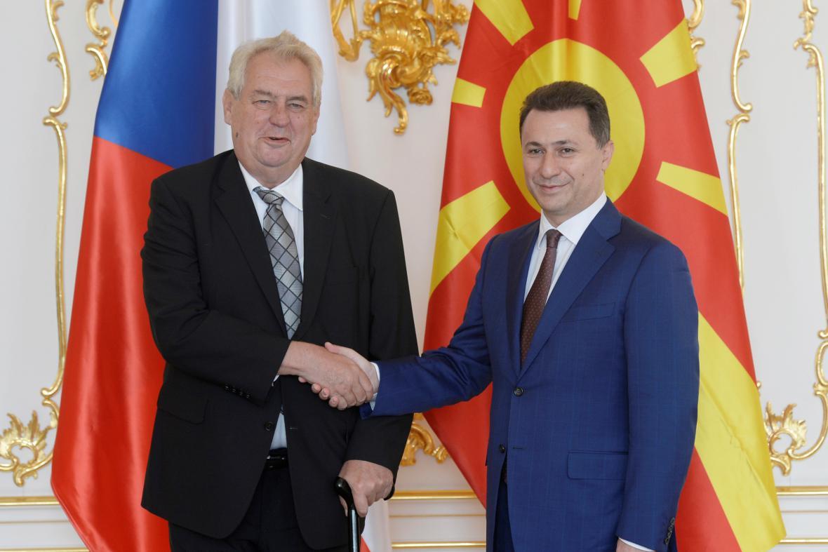 Prezident Miloš Zeman přivítal v Praze předsedu makedonské vlády Nikolu Gruevského (říjen 2014)