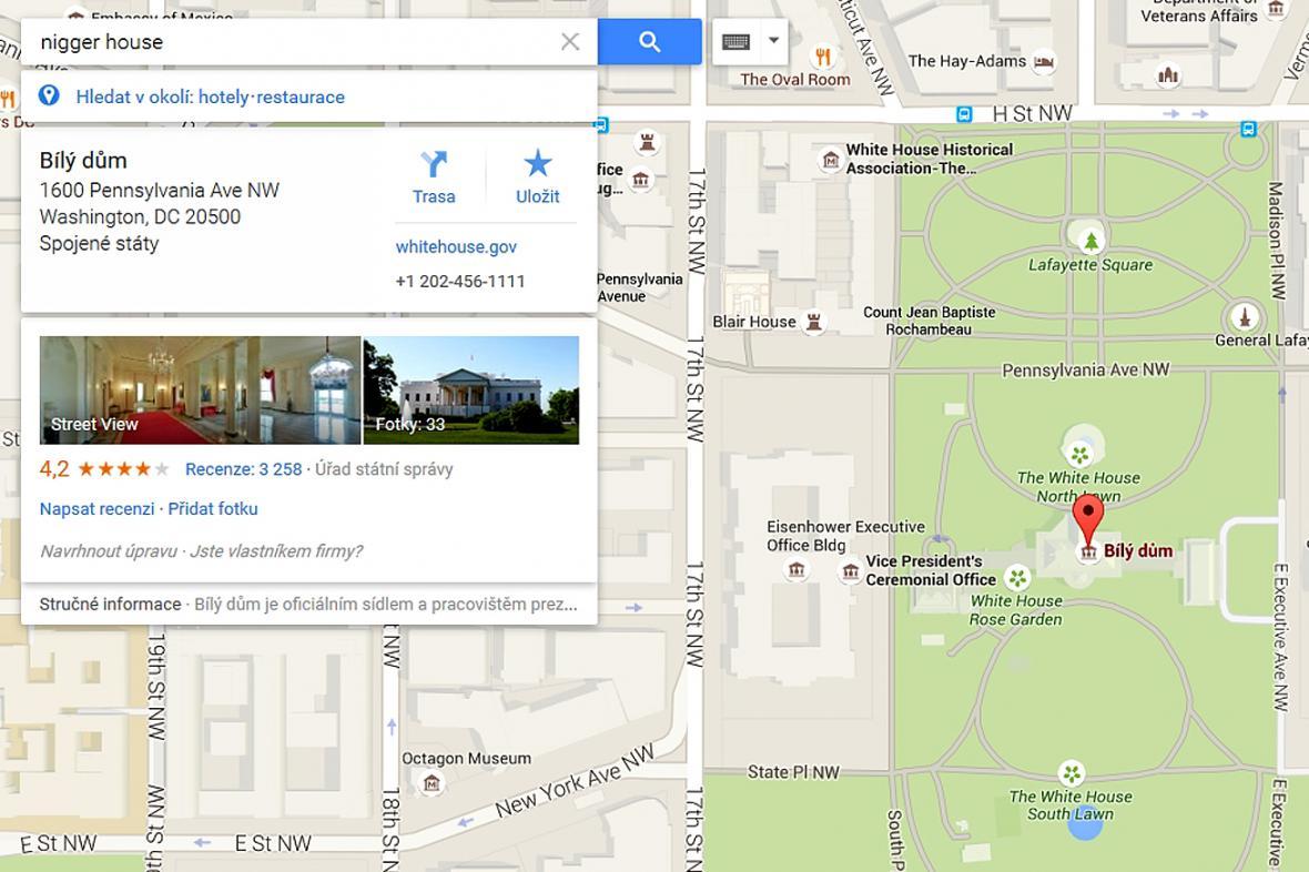 Zmanipulovaná Google mapa