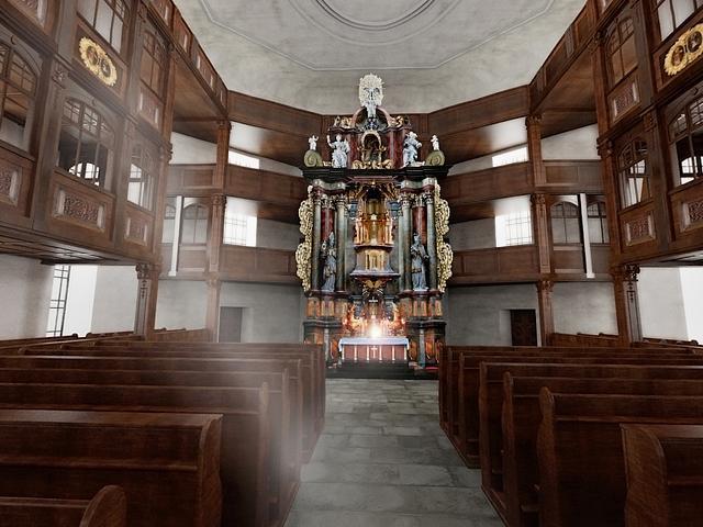 Interiér kostela ve virtuální podobě