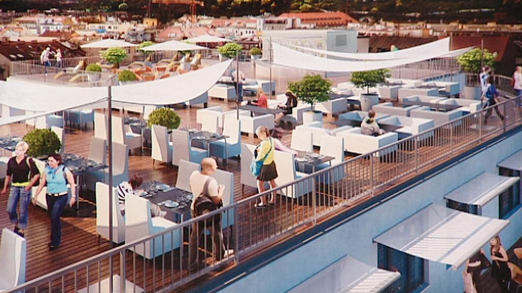 Terasa na střeše Bílé labutě - vizualizace