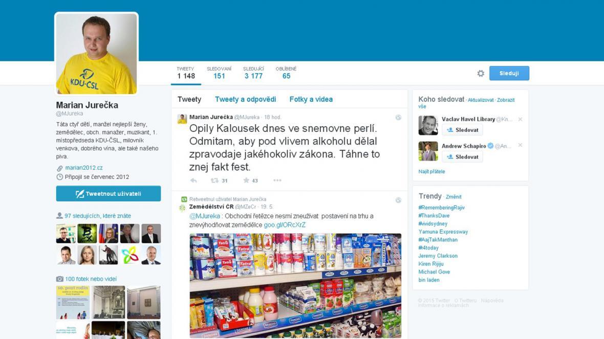 Vyhrocené jednání na okraj biopaliv - Twitter Mariana Jurečky
