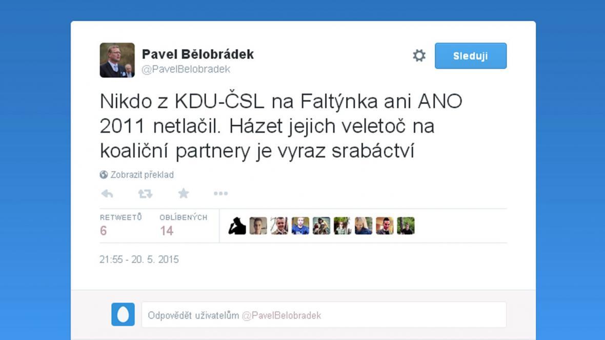 Vzkaz Pavla Bělobrádka koaličnímu partnerovi