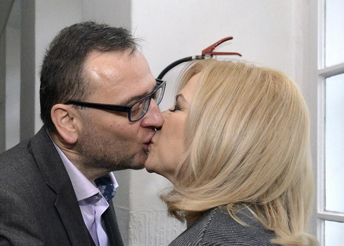 Bývalý premiér Petr Nečas s novou manželkou Janou Nagyovou