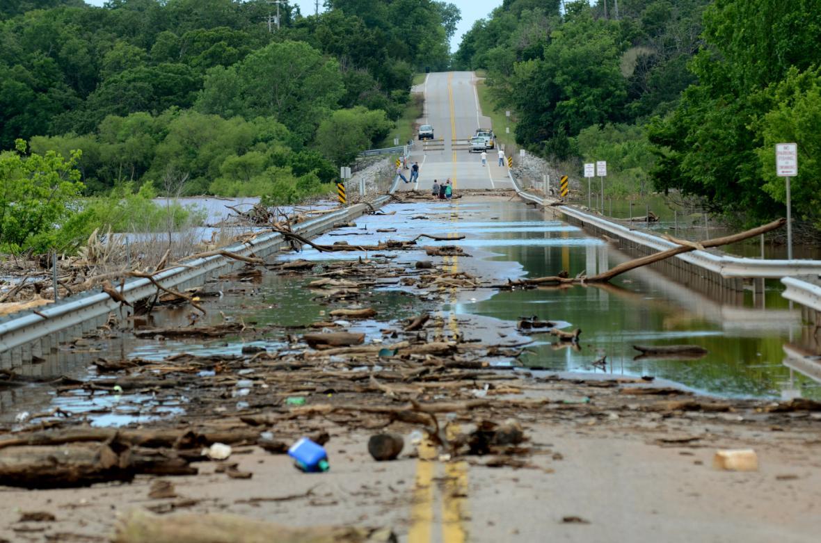 Následky záplav v Oklahomě