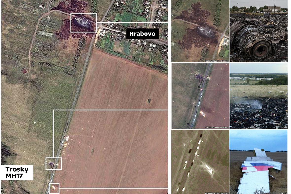Místo pádu MH17 na Google Earth