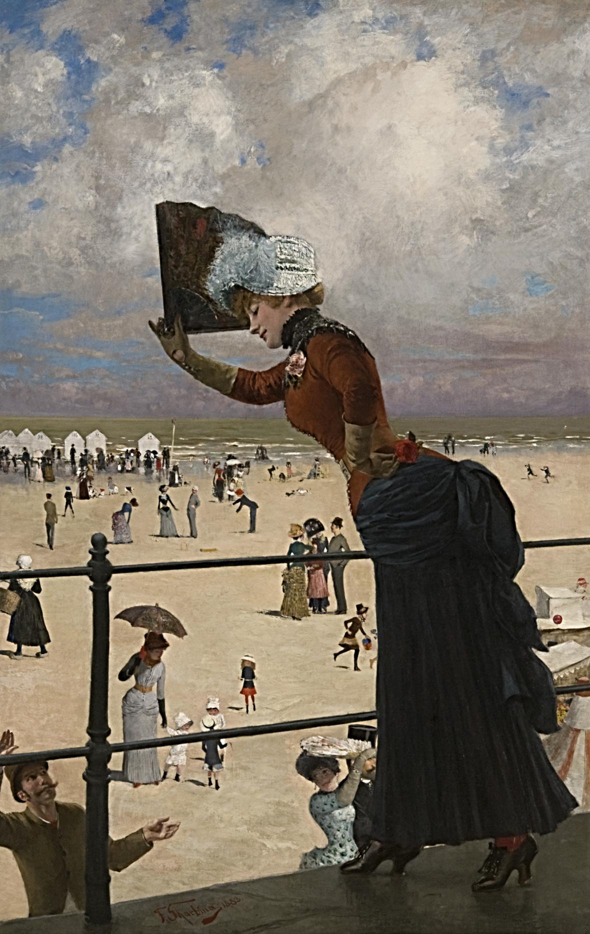 Franz Skarbina / Dáma v přímořských lázních, 1883
