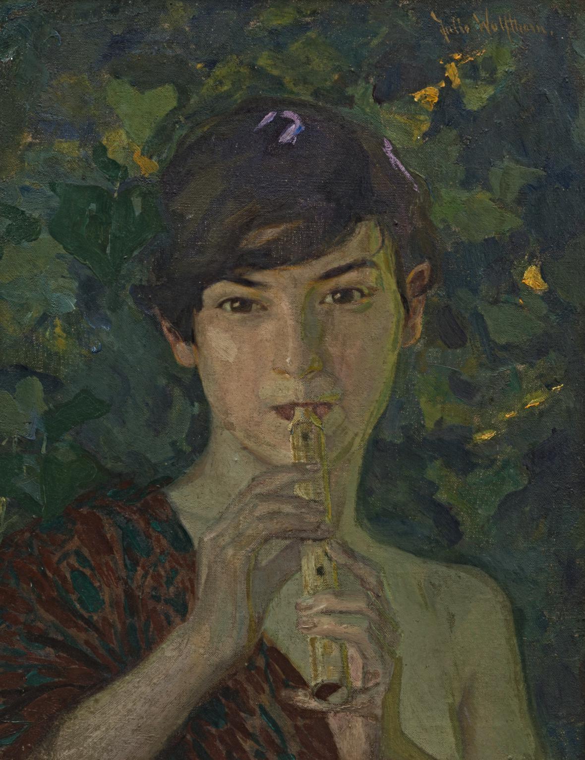 Julie Wolfthorn / Hráčka na flétnu, okolo 1900