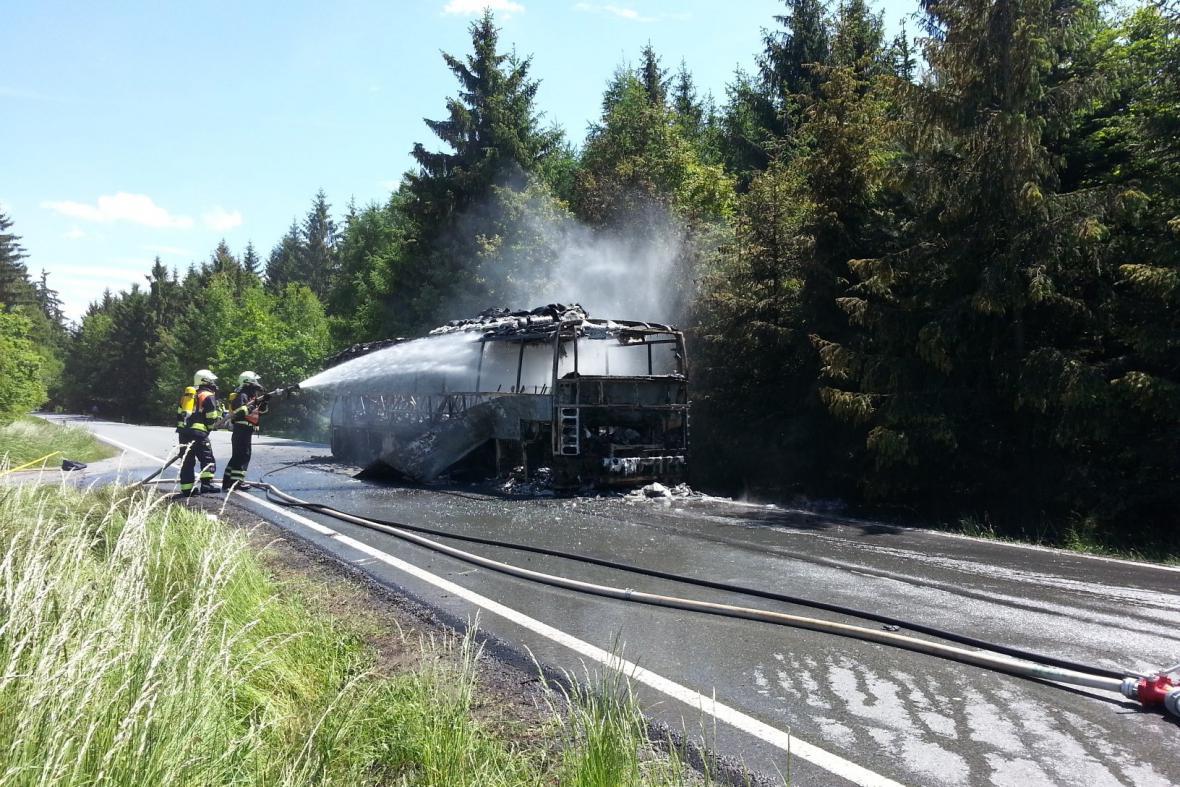 Požár autobusu