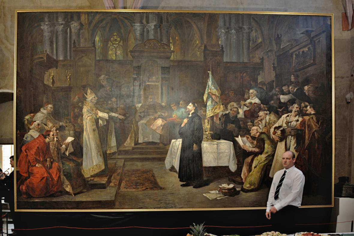 Obraz Václava Brožíka Mistr Jan Hus před koncilem kostnickým