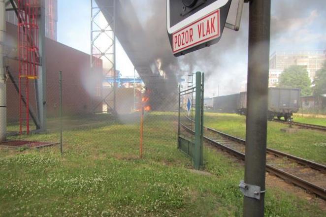 Požár teplárny v bývalém areálu Svitu ve Zlíně